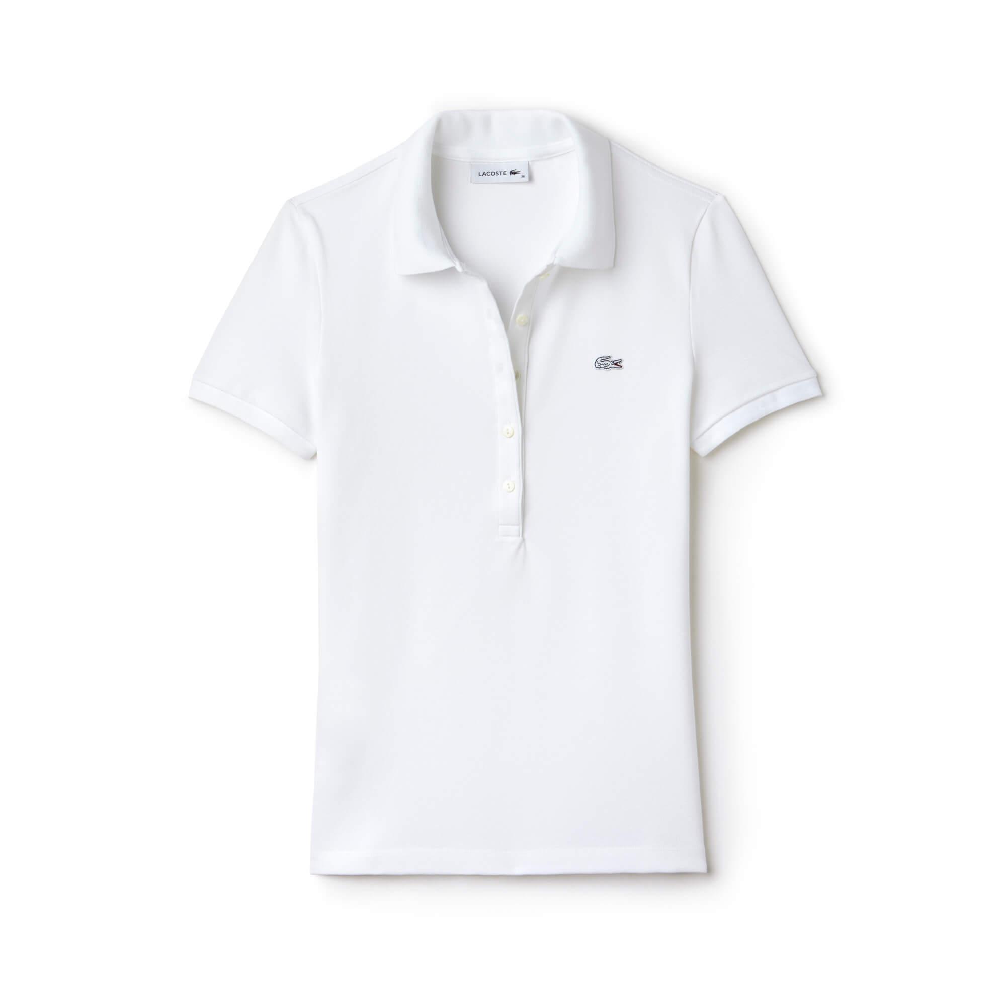 Lacoste Kadın Beyaz Slim Fit Polo