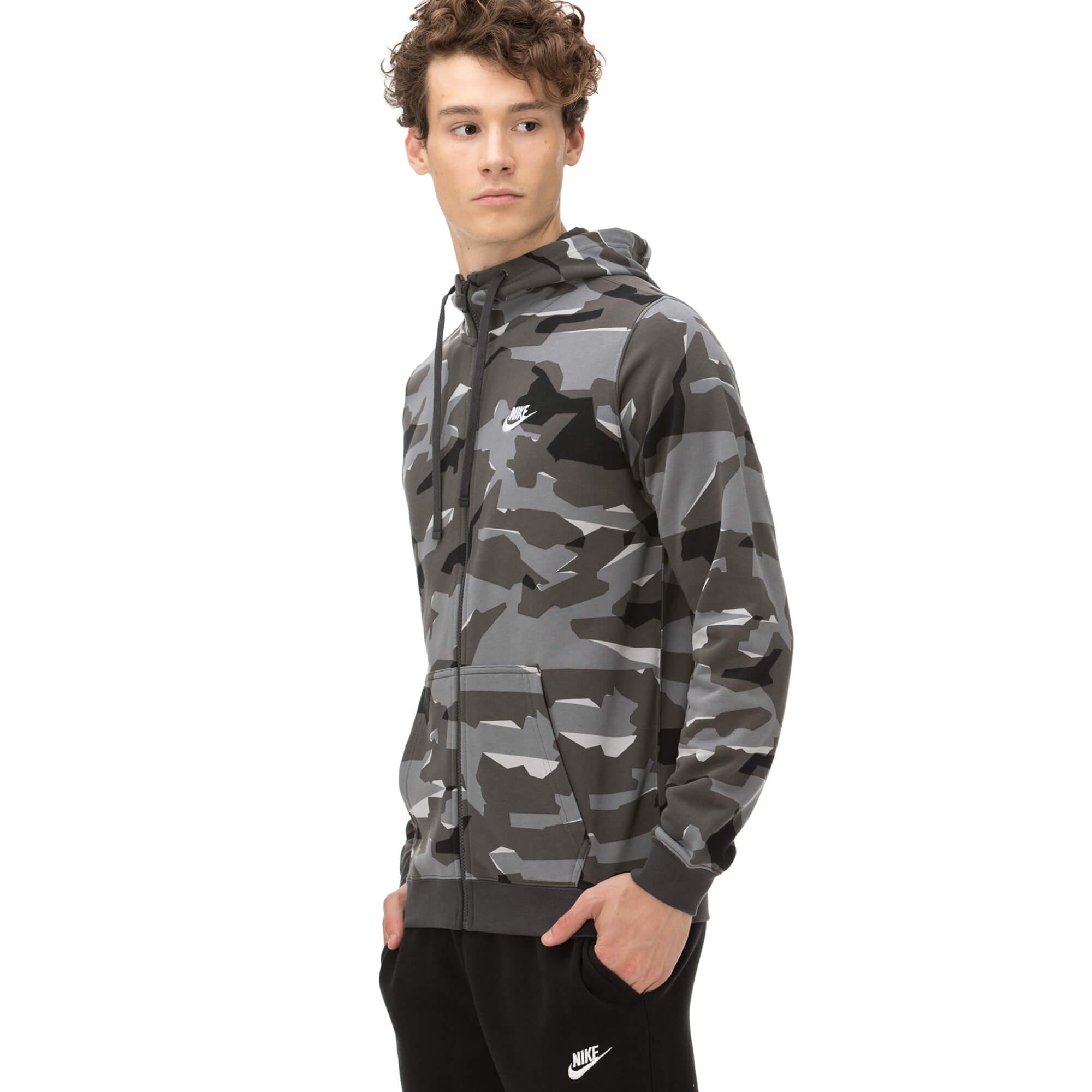 Nike Erkek Kamuflaj Gri Sweatshirt