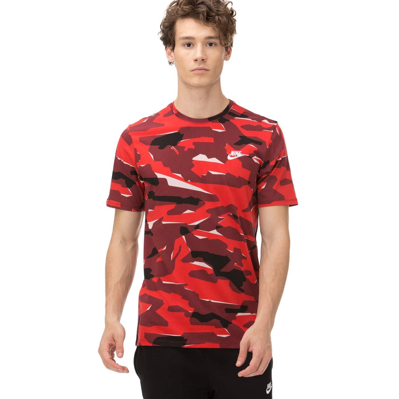Nike Erkek Kamuflaj Kırmızı T-shirt