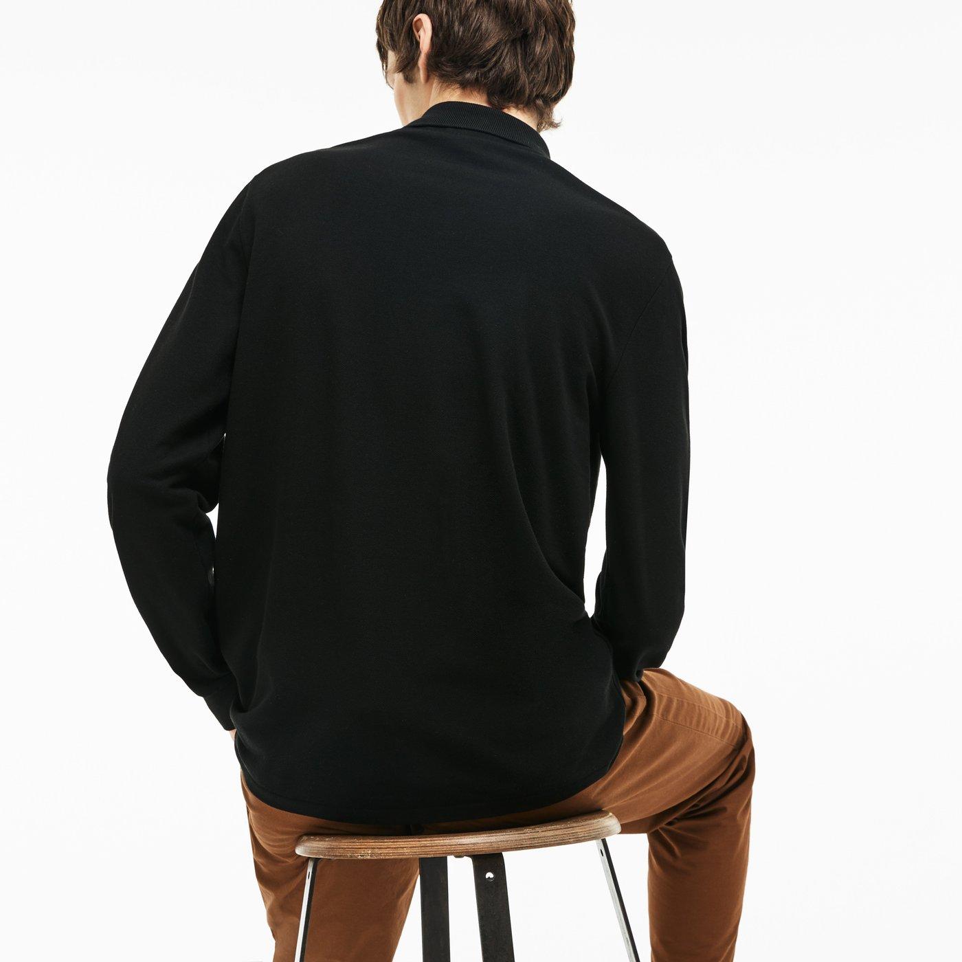 Lacoste L1312 Erkek Siyah Uzun Kollu Polo