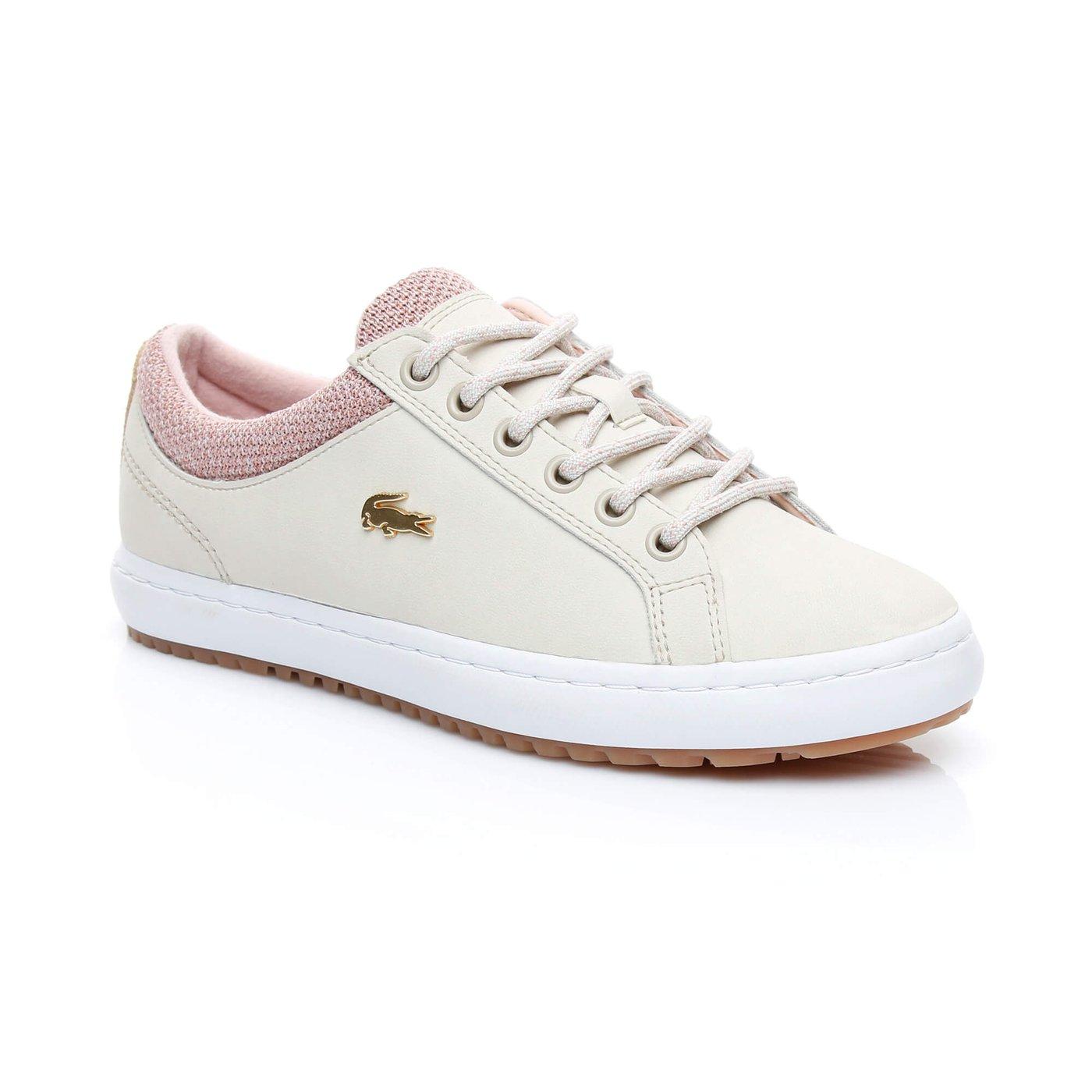 Lacoste Straightset İnsulate 3181 Kadın Krem Sneaker