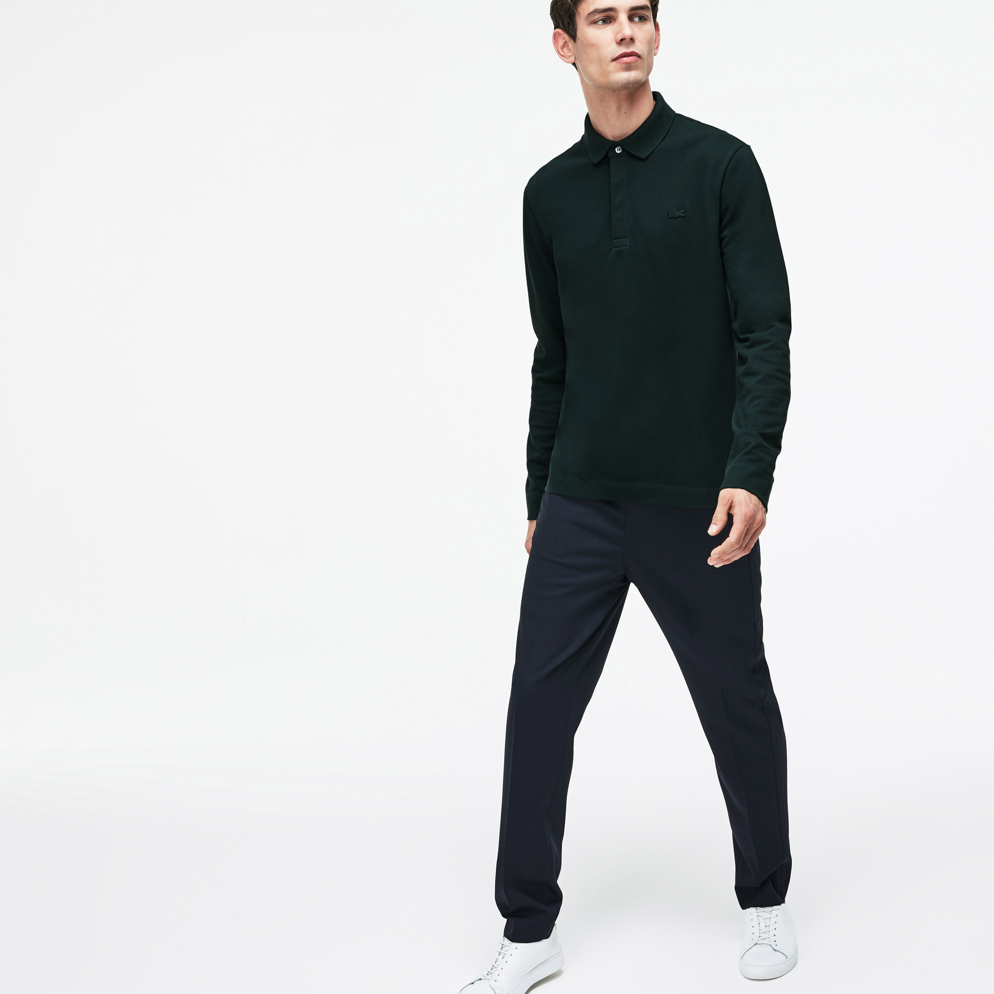 Lacoste Regular Fit Erkek Yeşil Uzun Kollu Polo