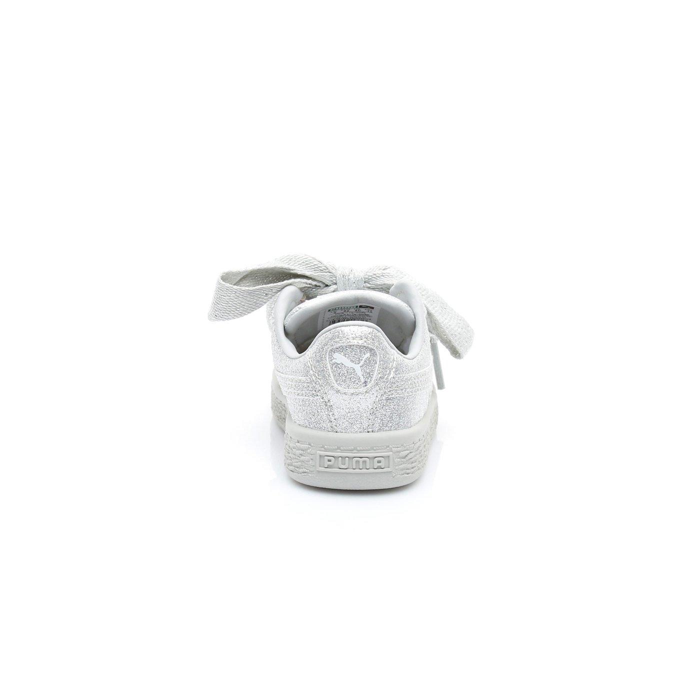 Puma Basket Heart Holiday Glamour  Çocuk Gri Sneaker