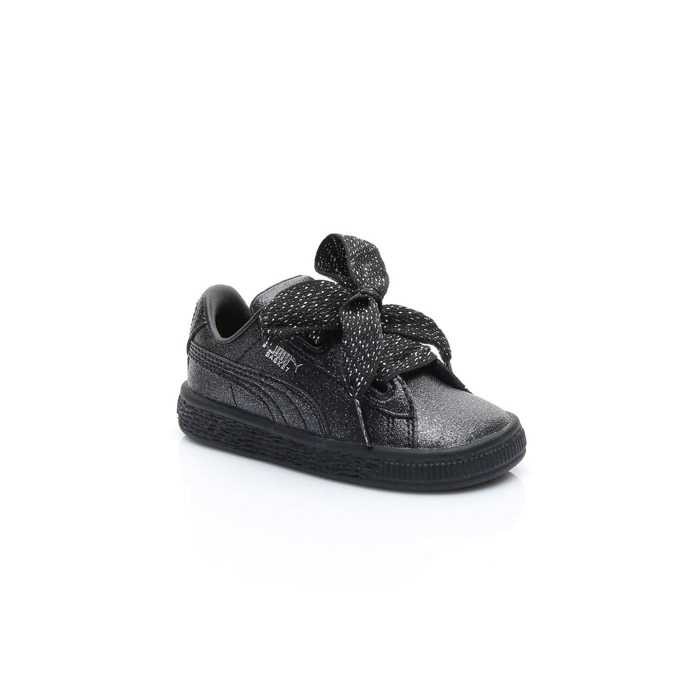 Puma Basket Heart Holiday Glamour  Çocuk Siyah Sneaker