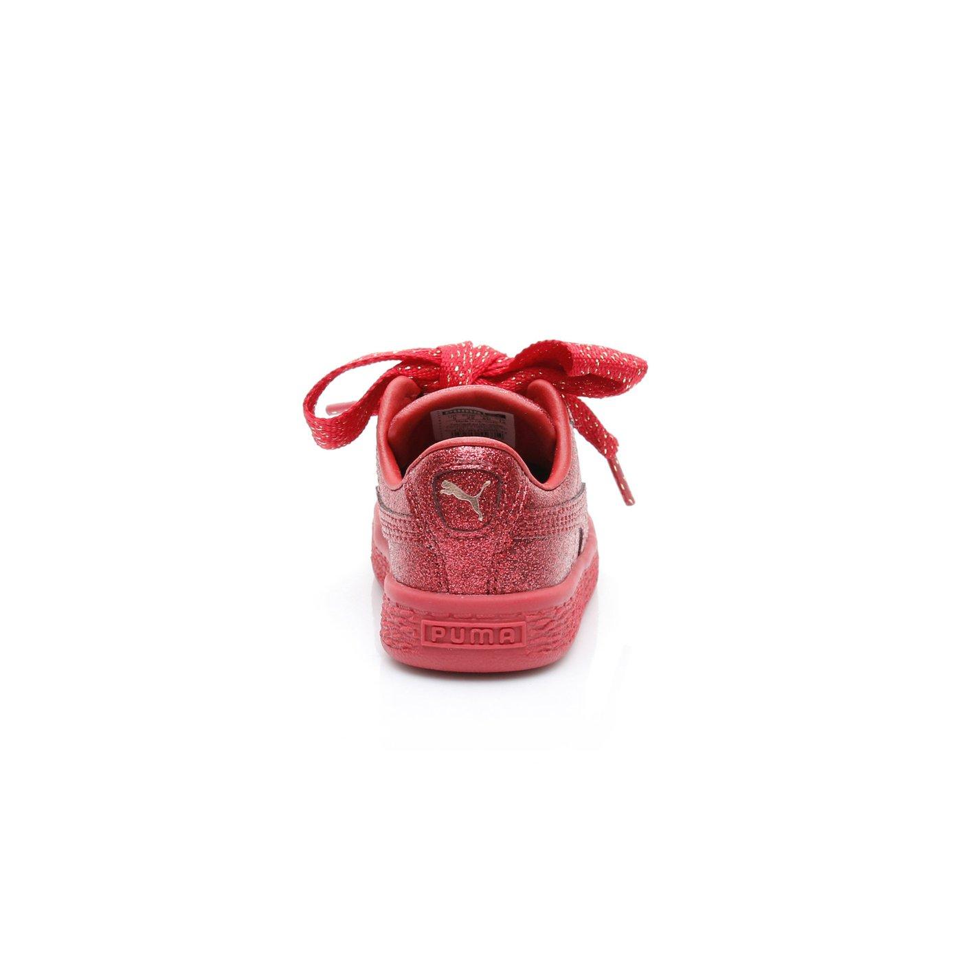 Puma Basket Heart Holiday Glamour  Çocuk Kırmızı Sneaker