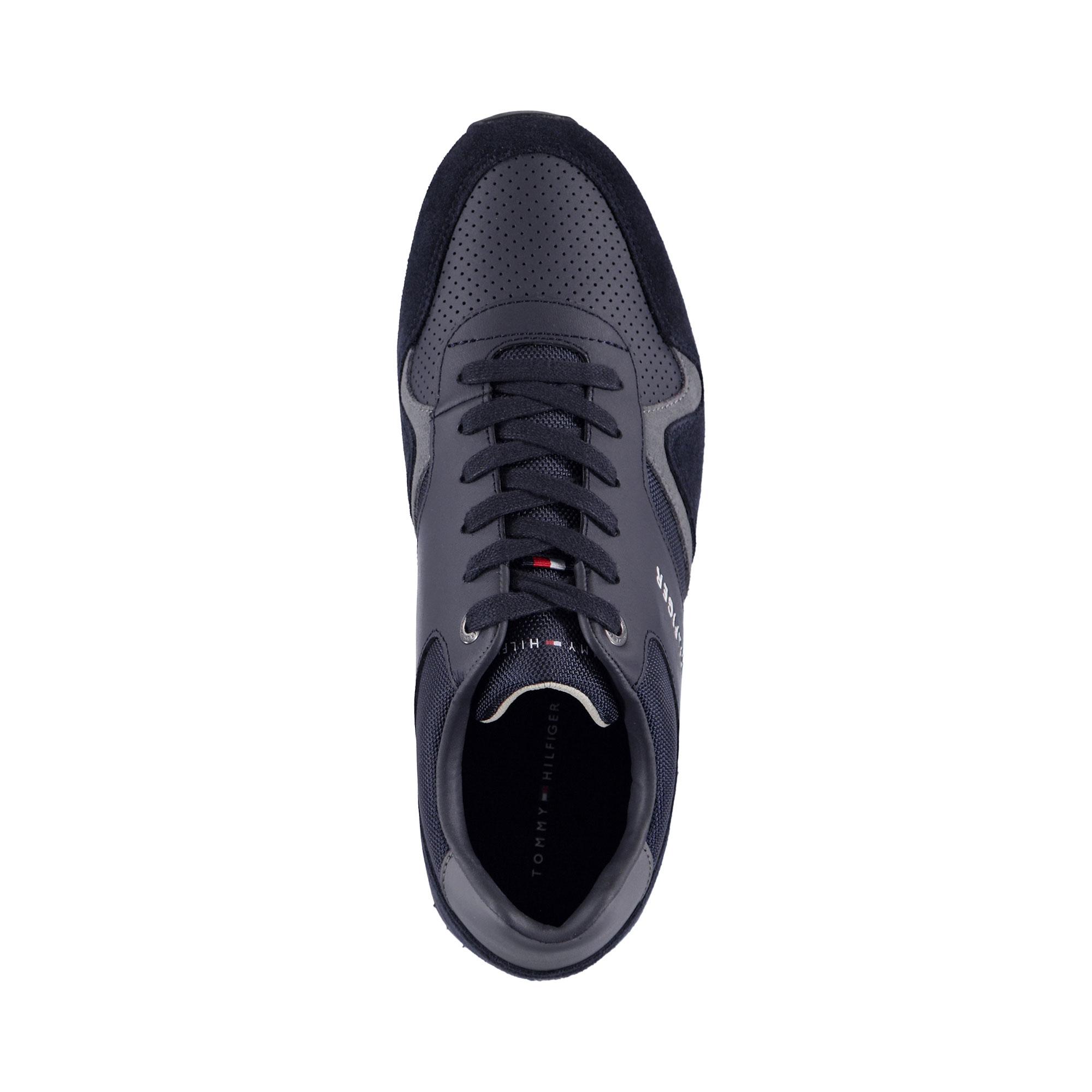 Tommy Hilfiger Iconic Leather Runner Erkek Lacivert Sneaker