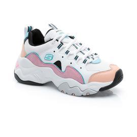 Skechers D'Lites 3.0-Zenway Kadın Beyaz-Pembe-Mavi Spor Ayakkabı