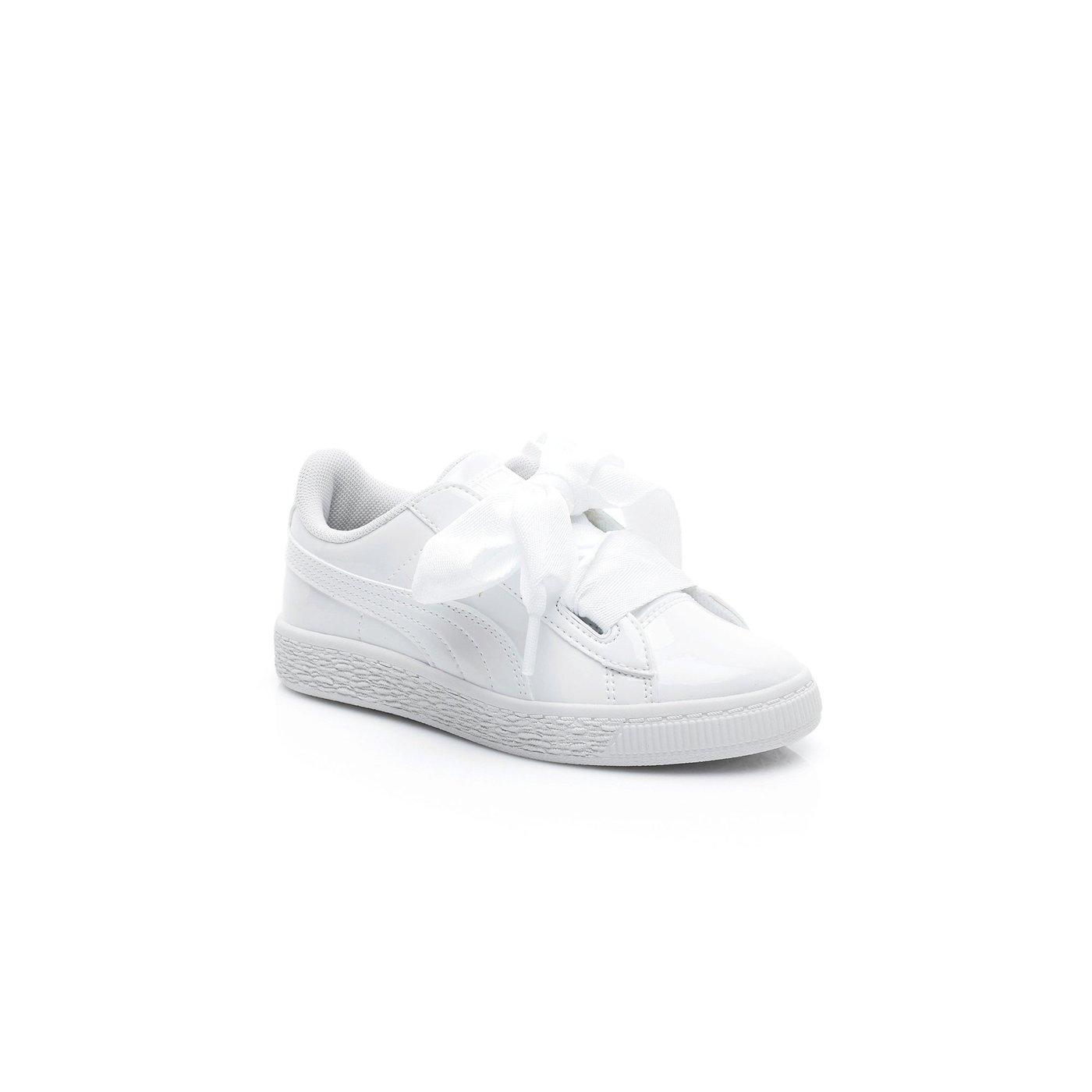 Puma Basket Heart Patent Çocuk Beyaz Spor Ayakkabı