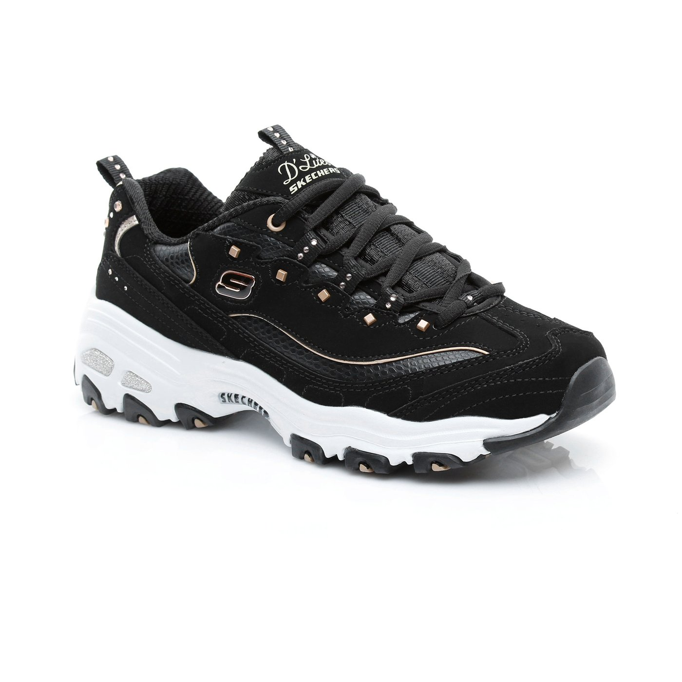 Skechers D'Lites-Embellish Kadın Siyah-Gold Spor Ayakkabı