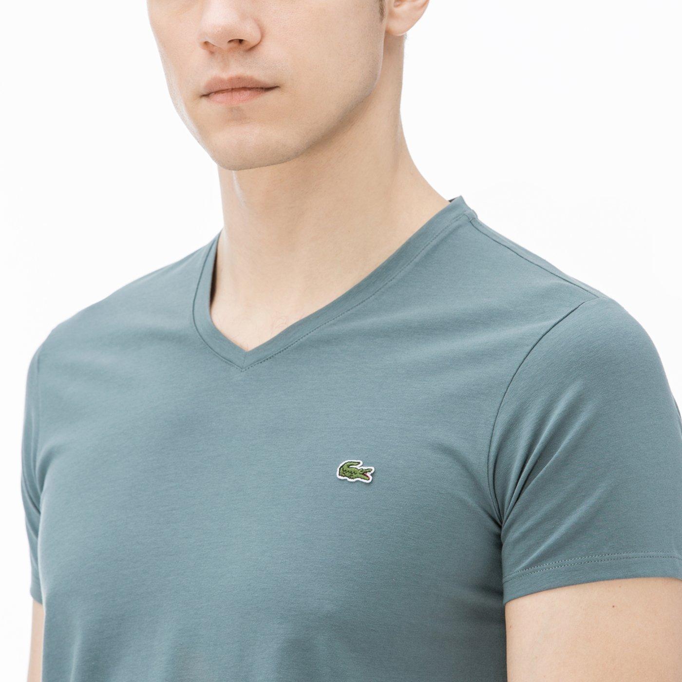 Lacoste Erkek V Yaka Mavi T-Shirt