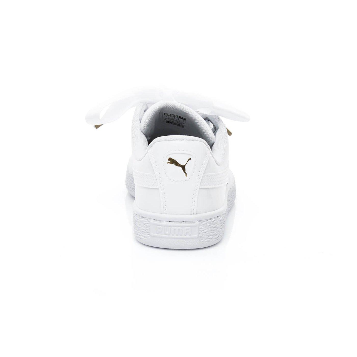 Puma Basket Heart Patent Kadın Beyaz Spor Ayakkabı