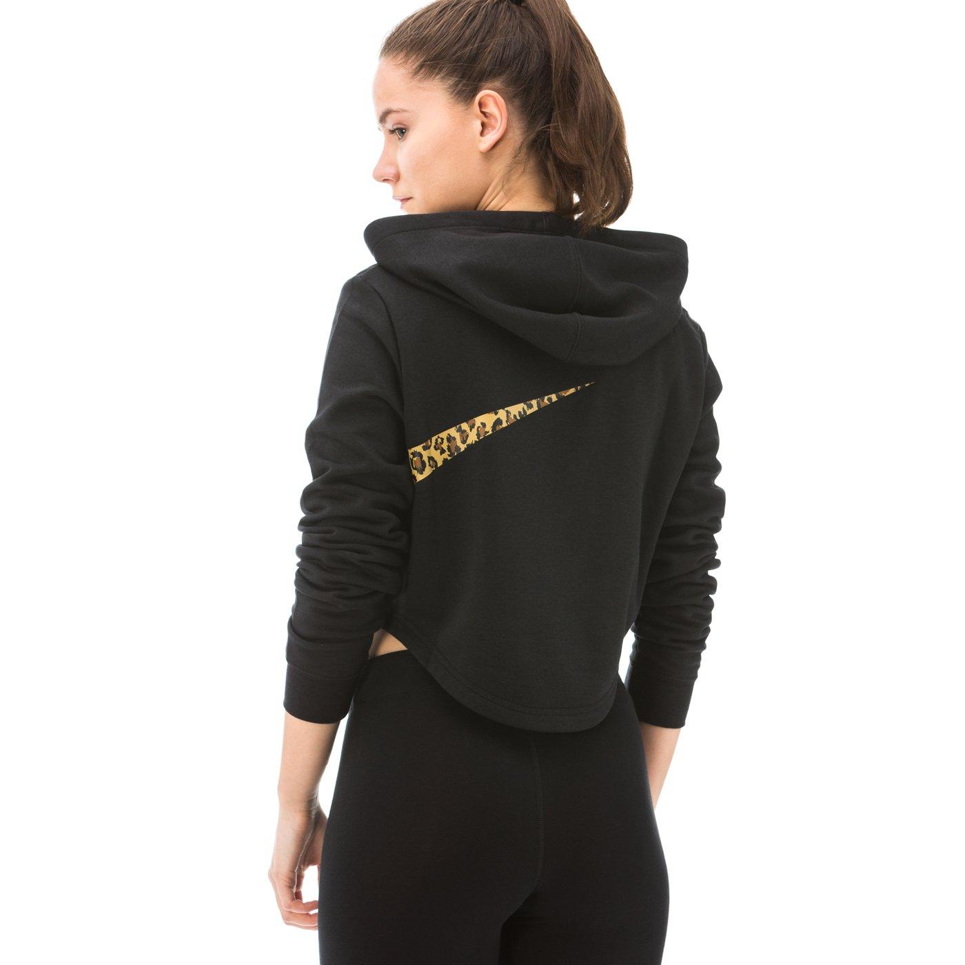 Nike Sportswear Croped Hoodie Kadın Siyah Sweatshirt