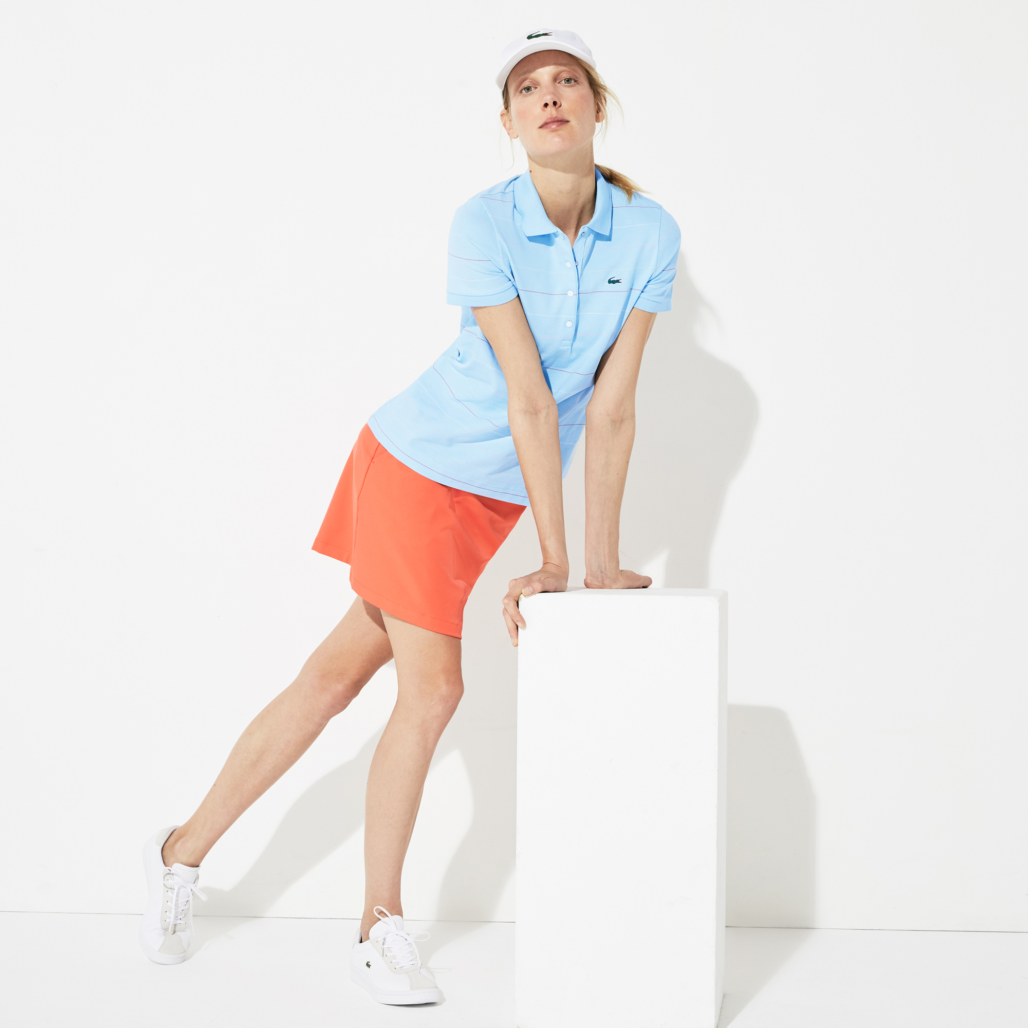 Lacoste Kadın Çizgili Mavi Polo
