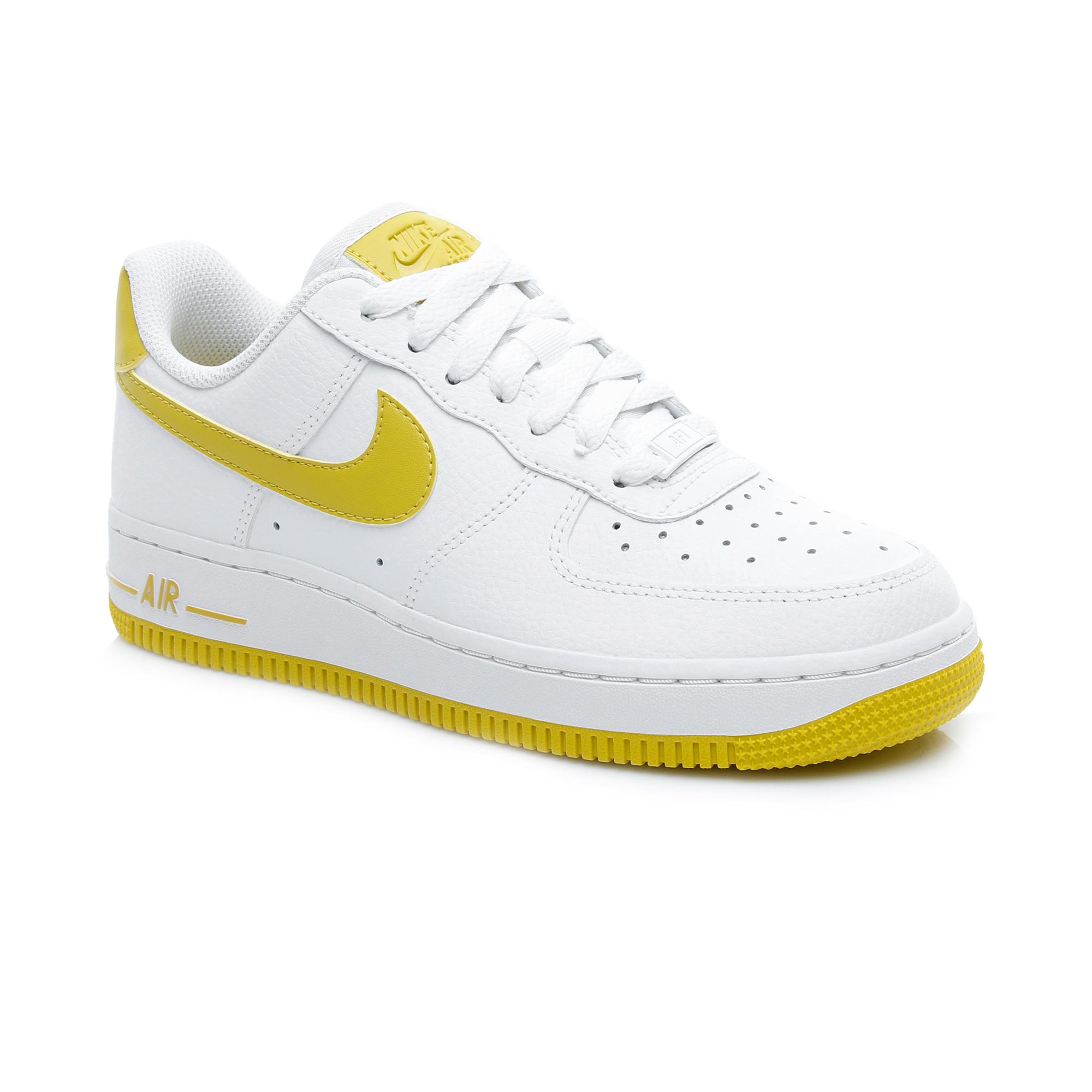 Nike Air Force 1 '07 Patent Beyaz-Sarı Kadın Spor Ayakkabı