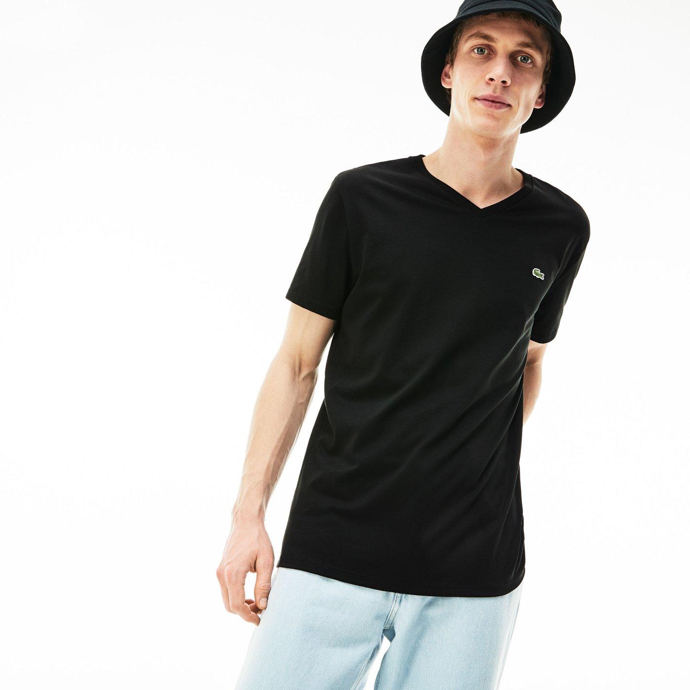 Lacoste Erkek V Yaka Siyah T-Shirt