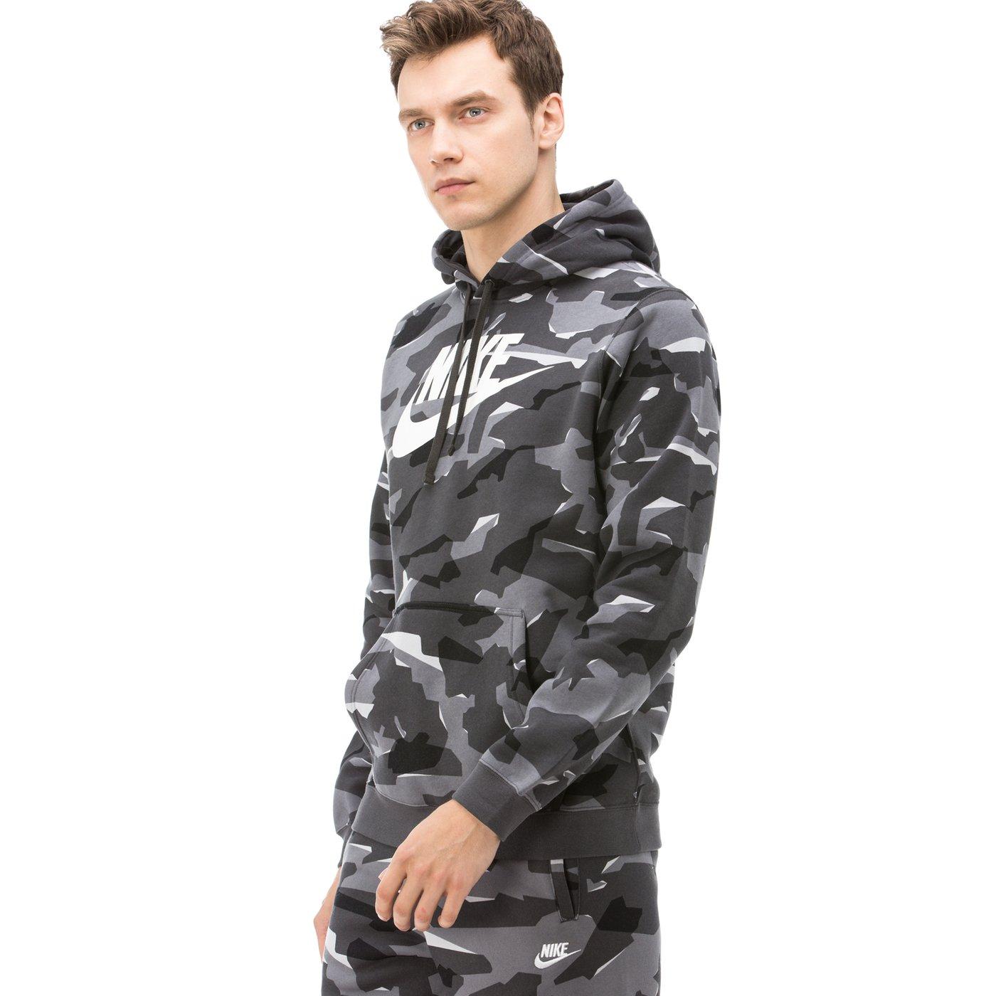 Nike Club Erkek Gri Camo Sweatshirt