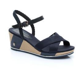 Tommy Hilfiger Printed Mid Wedge Kadın Lacivert Sandalet