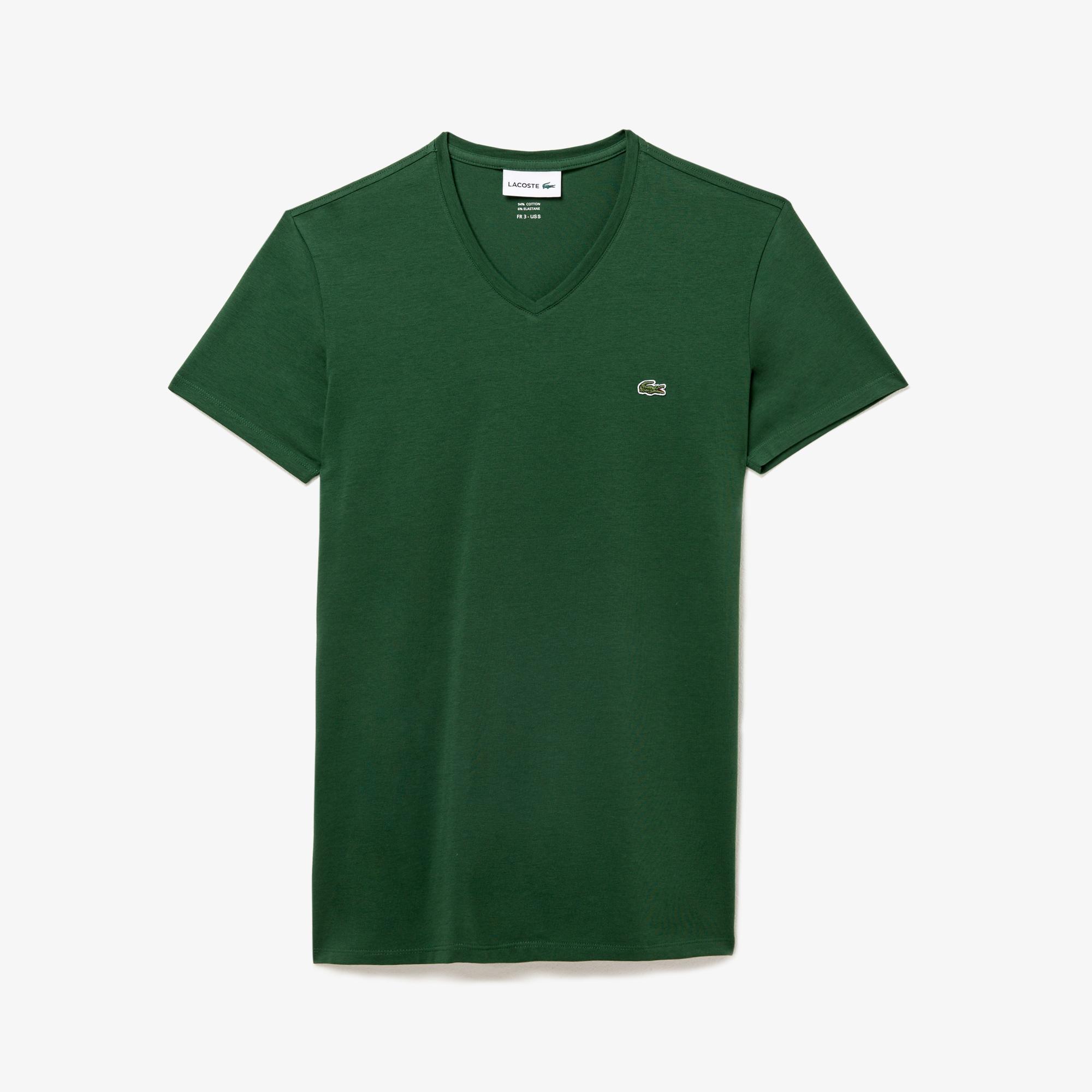 Lacoste Erkek V Yaka Yeşil T-Shirt
