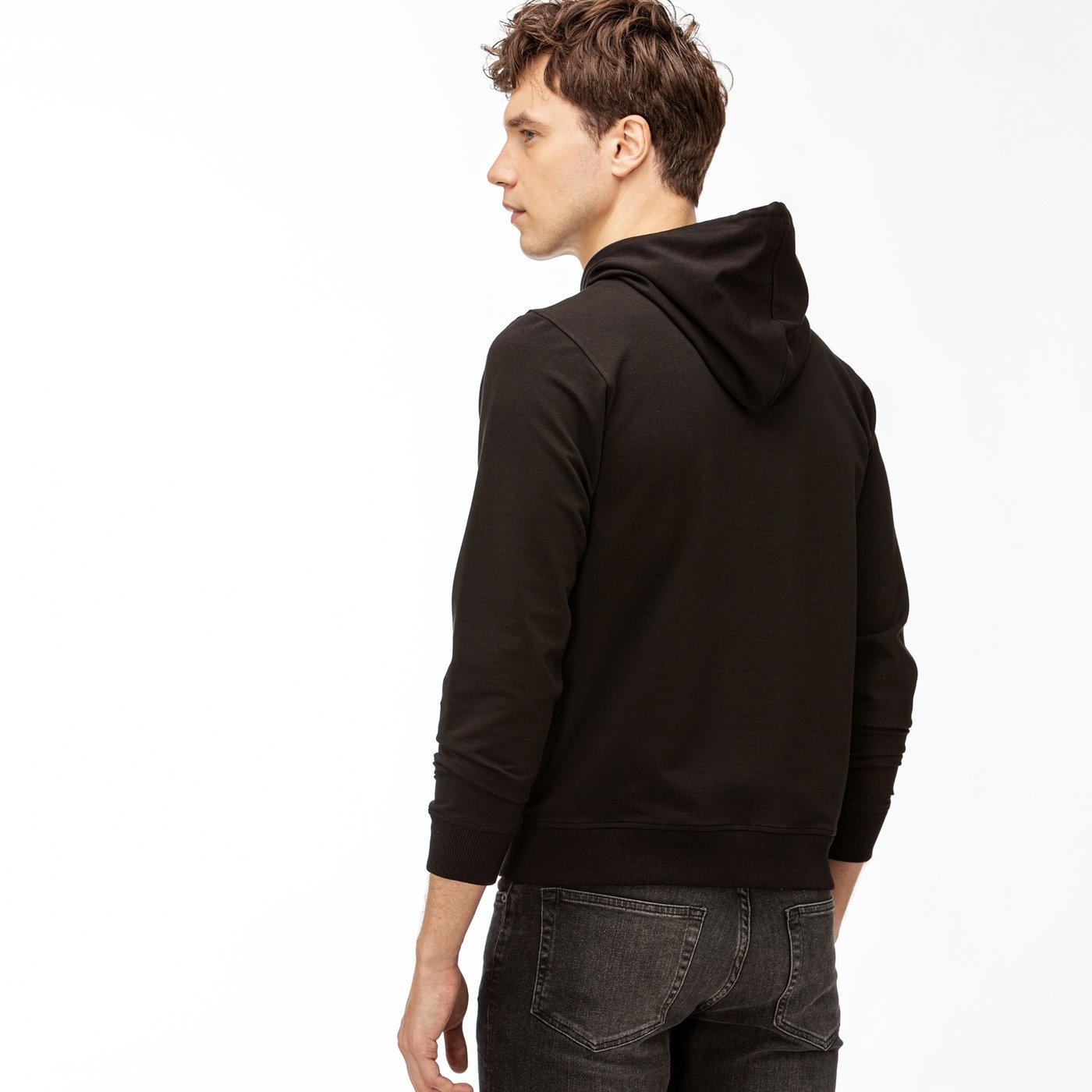 Lacoste Erkek Nakışlı Kapüşonlu Siyah Sweatshirt