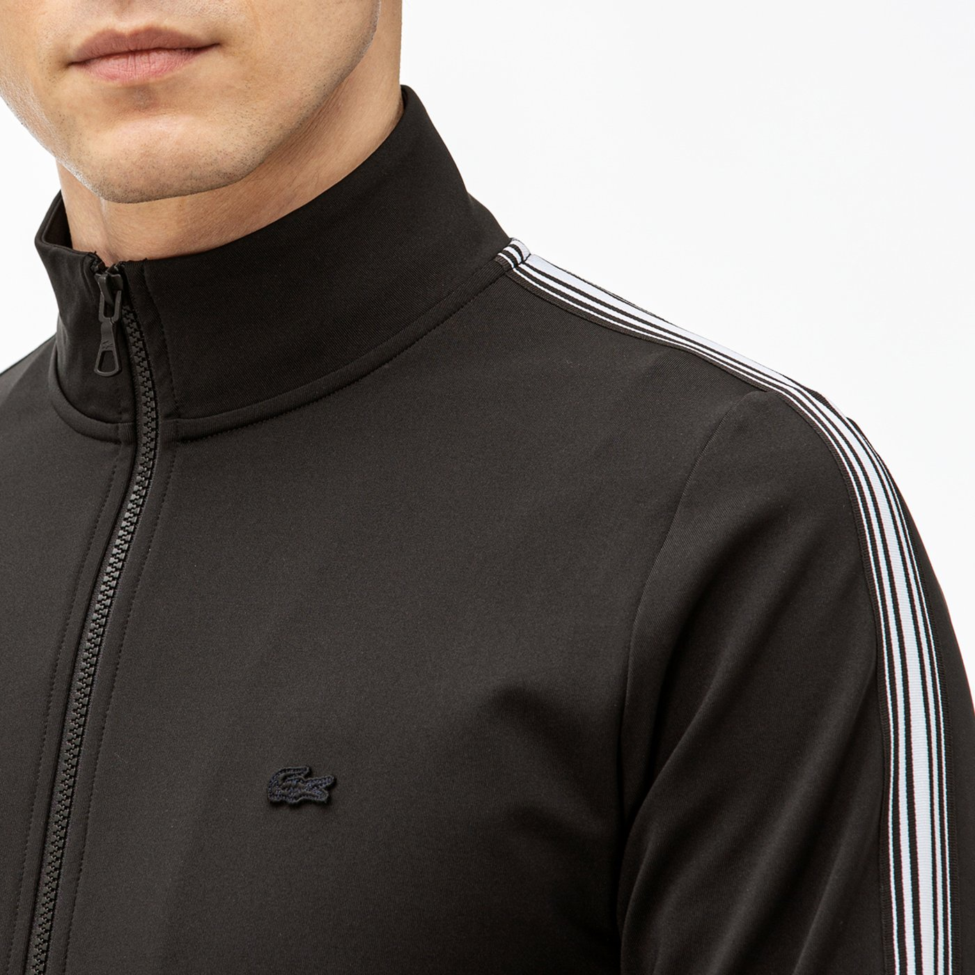 Lacoste Erkek Blok Desenli Siyah Fermuarlı Sweatshirt