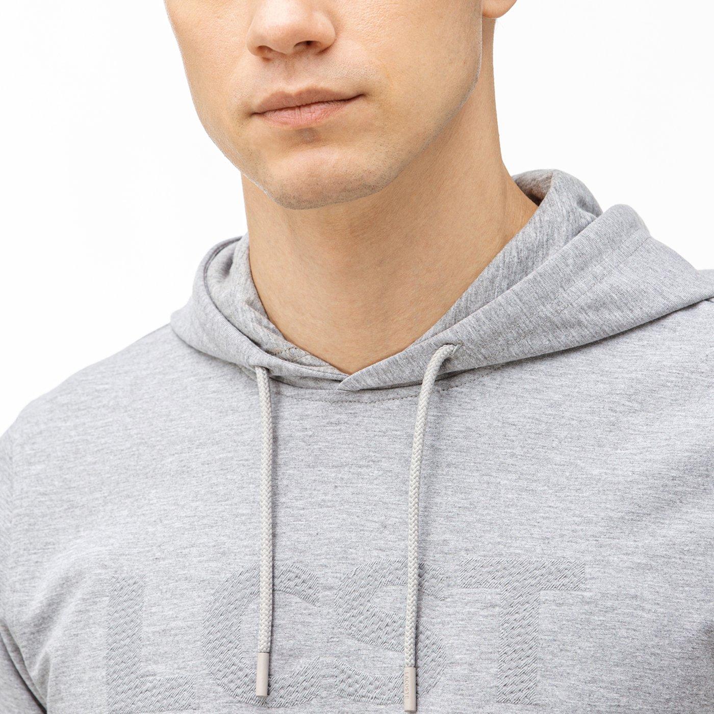Lacoste Erkek Nakışlı Kapüşonlu Gri Sweatshirt