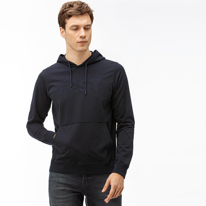 Lacoste Erkek Nakışlı Kapüşonlu Lacivert Sweatshirt