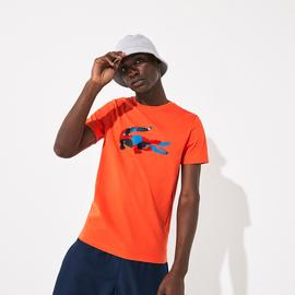 Lacoste Erkek Renkli Baskılı Desenli Turuncu T-Shirt