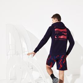 Lacoste Novak Djokovic Erkek Baskılı Kapüşonlu Lacivert Sweatshirt