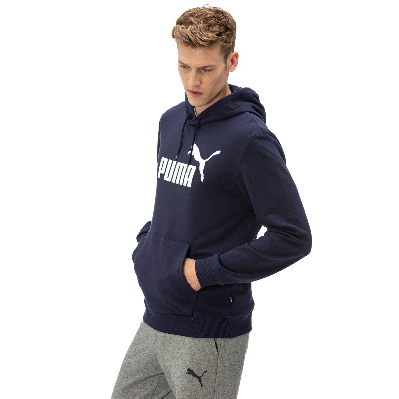 Puma Ess Hoody Tr Big Logo Erkek Lacivert Sweatshirt