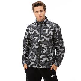 Nike Kamuflaj Desenli Kapşonlu Erkek Siyah Yağmurluk