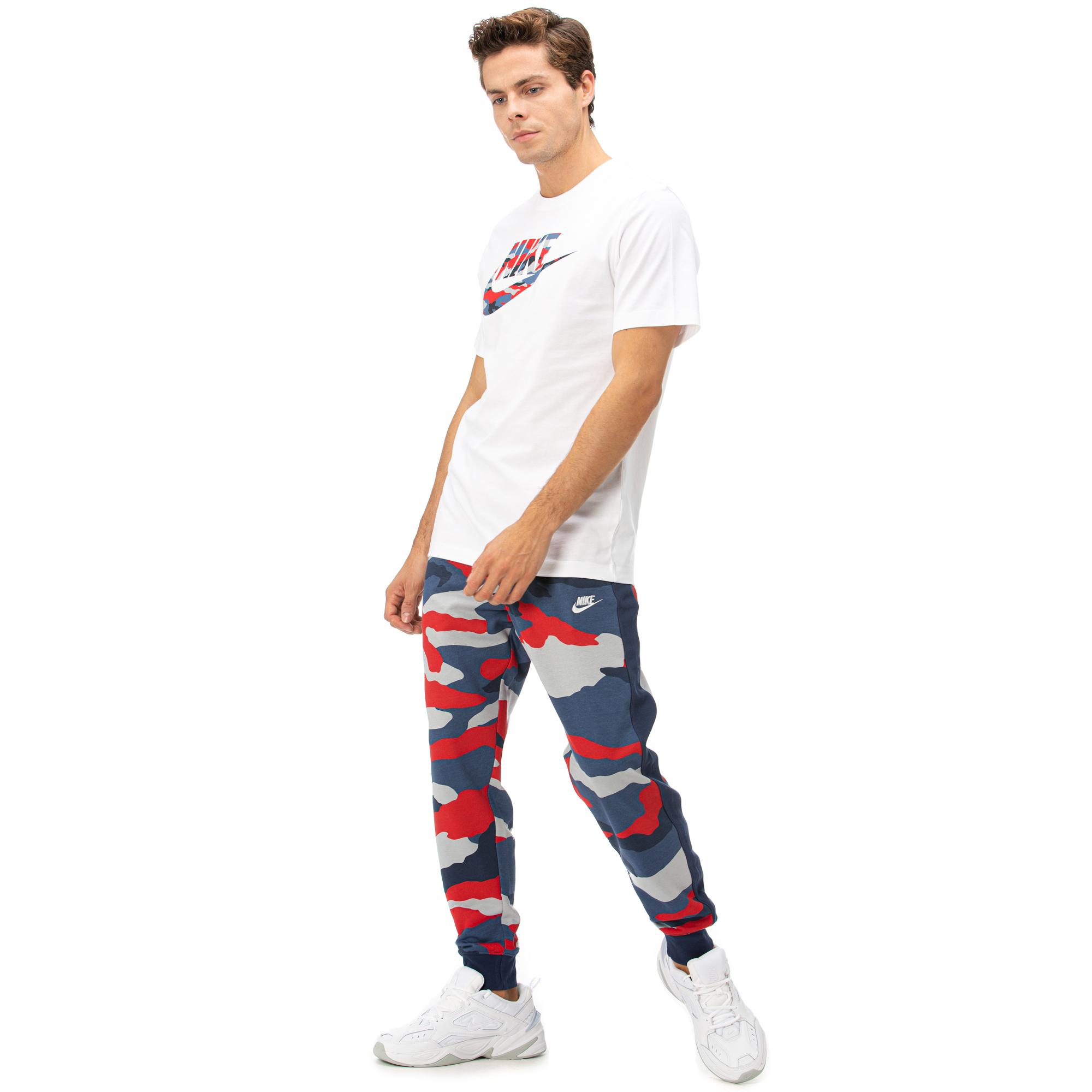 Nike Club Camo Erkek Lacivert - Kırmızı Eşofman Altı