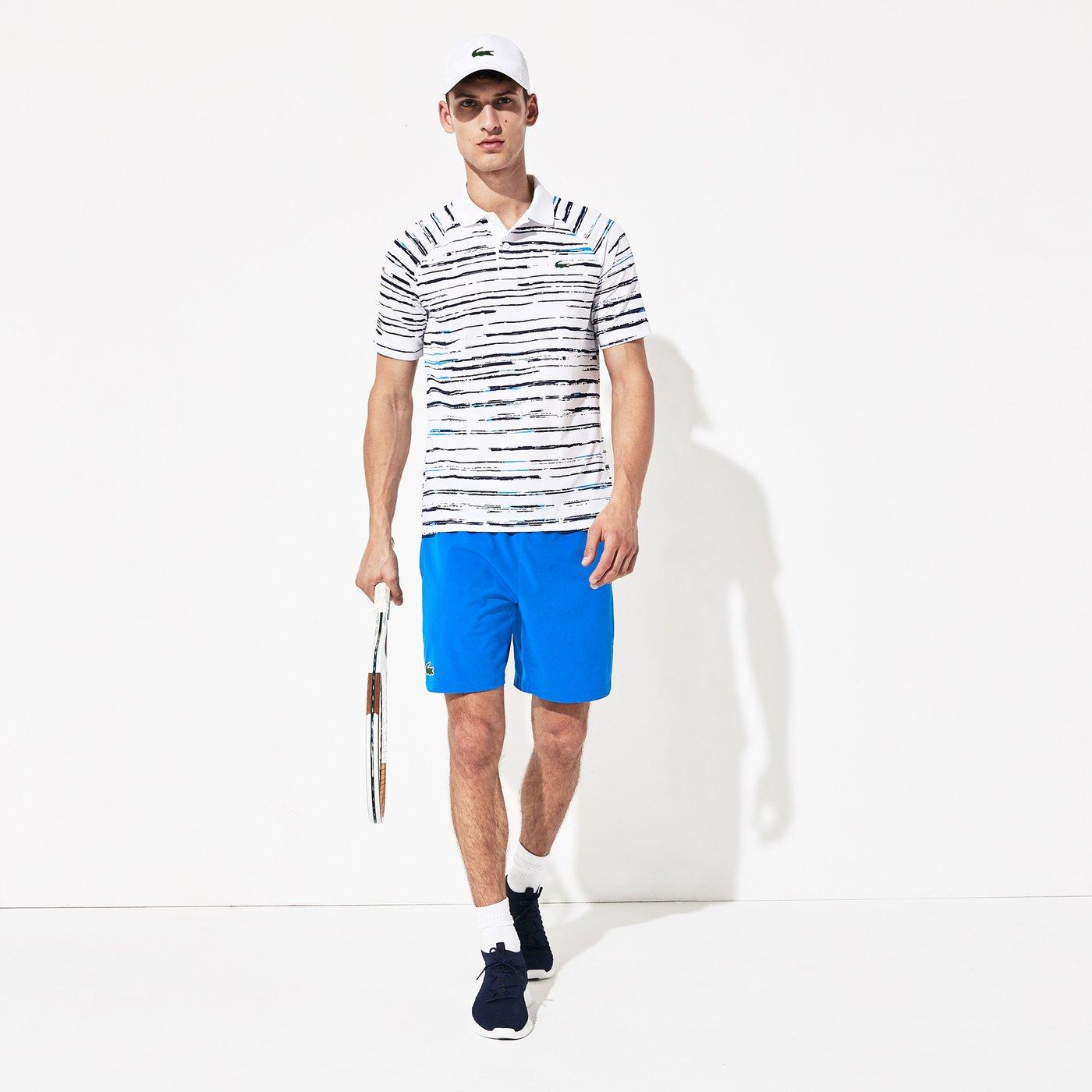 Lacoste Novak Djokovic Erkek Baskılı Beyaz - Lacivert Polo