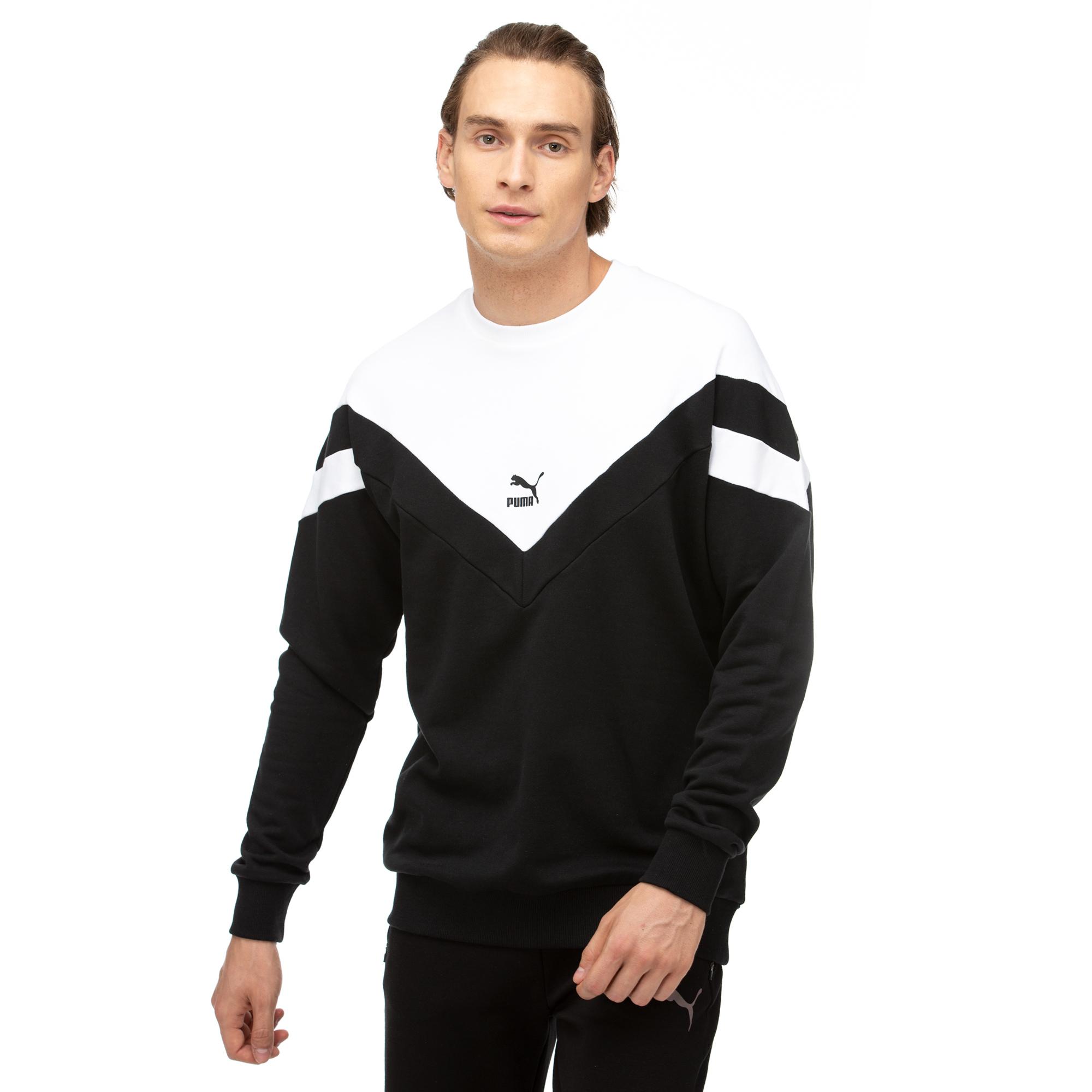 Puma Iconic MCS Crew Tr Erkek Siyah-Beyaz Sweatshirt