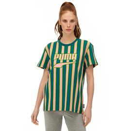 Puma Downtown Stripe Kadın Sarı-Yeşil T-Shirt