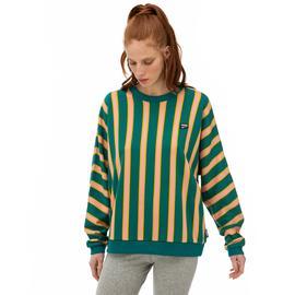 Puma Downtown Stripe Crew Kadın Sarı-Yeşil Sweatshirt