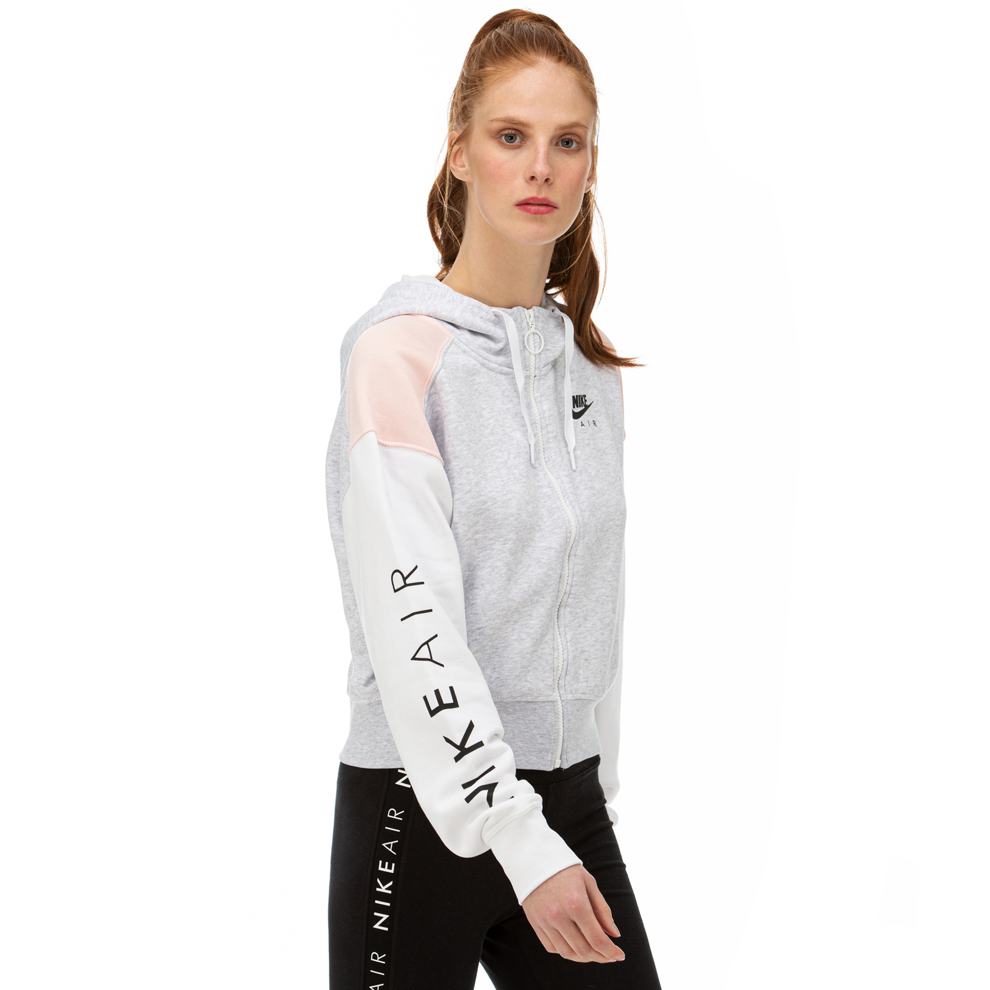 Nike Air Hoodie Fz Bb Kadın Gri - Pembe Fermuarlı Sweatshirt
