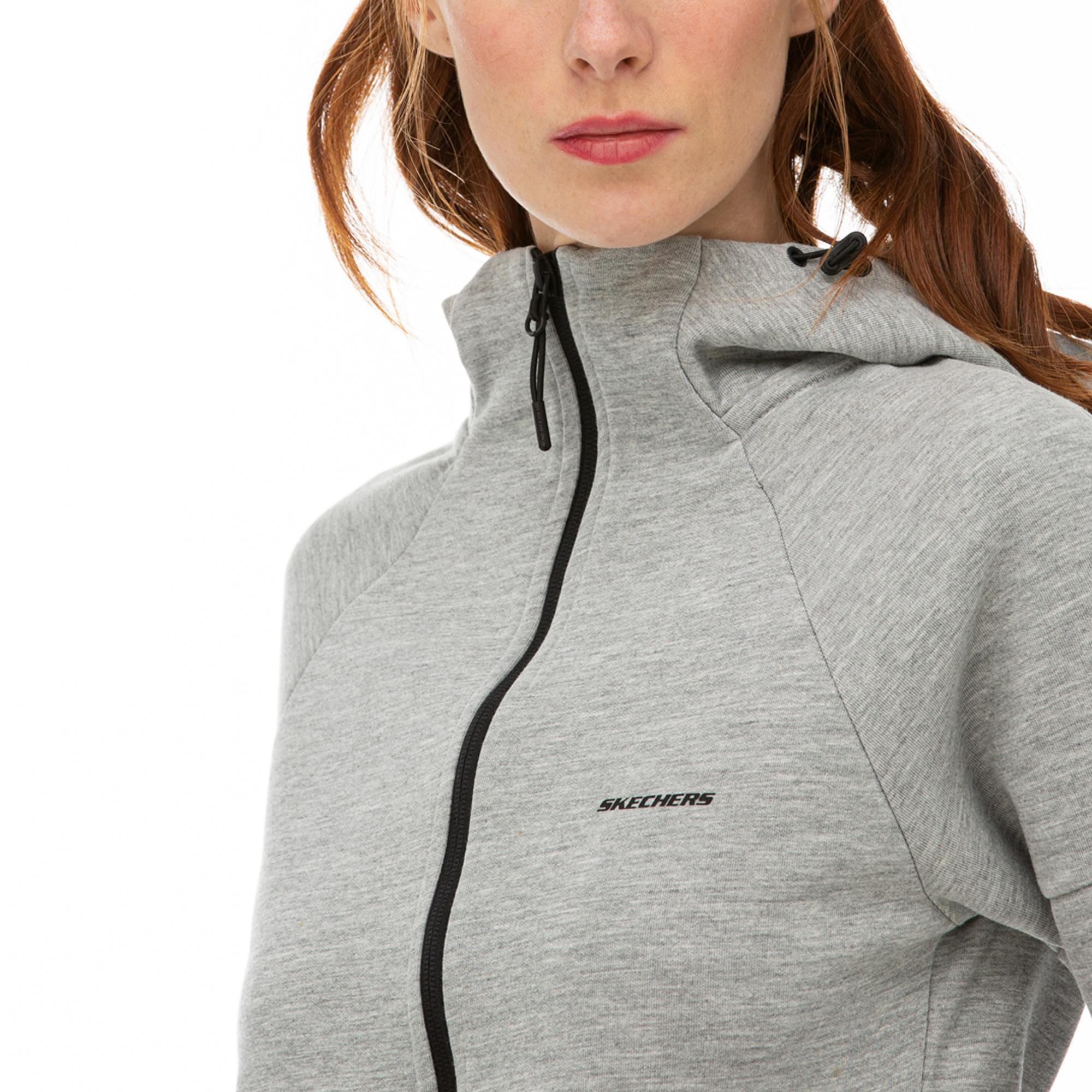 Skechers 2X I-Lock Gri Kadın Fermuarlı Sweatshirt