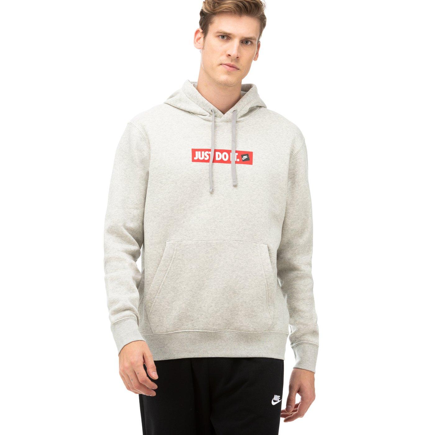Nike JDI Fleece Pullover Kapüşonlu Gri Erkek Sweatshirt
