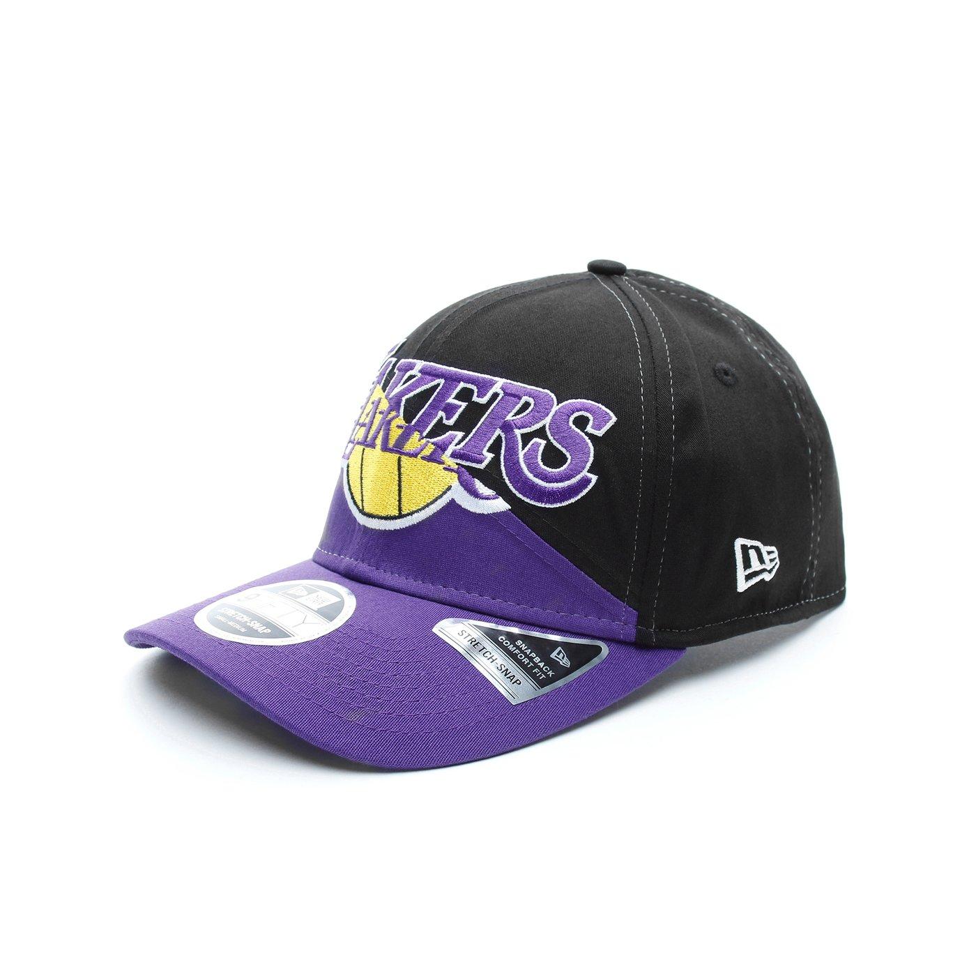 New Era Los Angeles Lakers Split Stretch Unisex Siyah-Mor Şapka