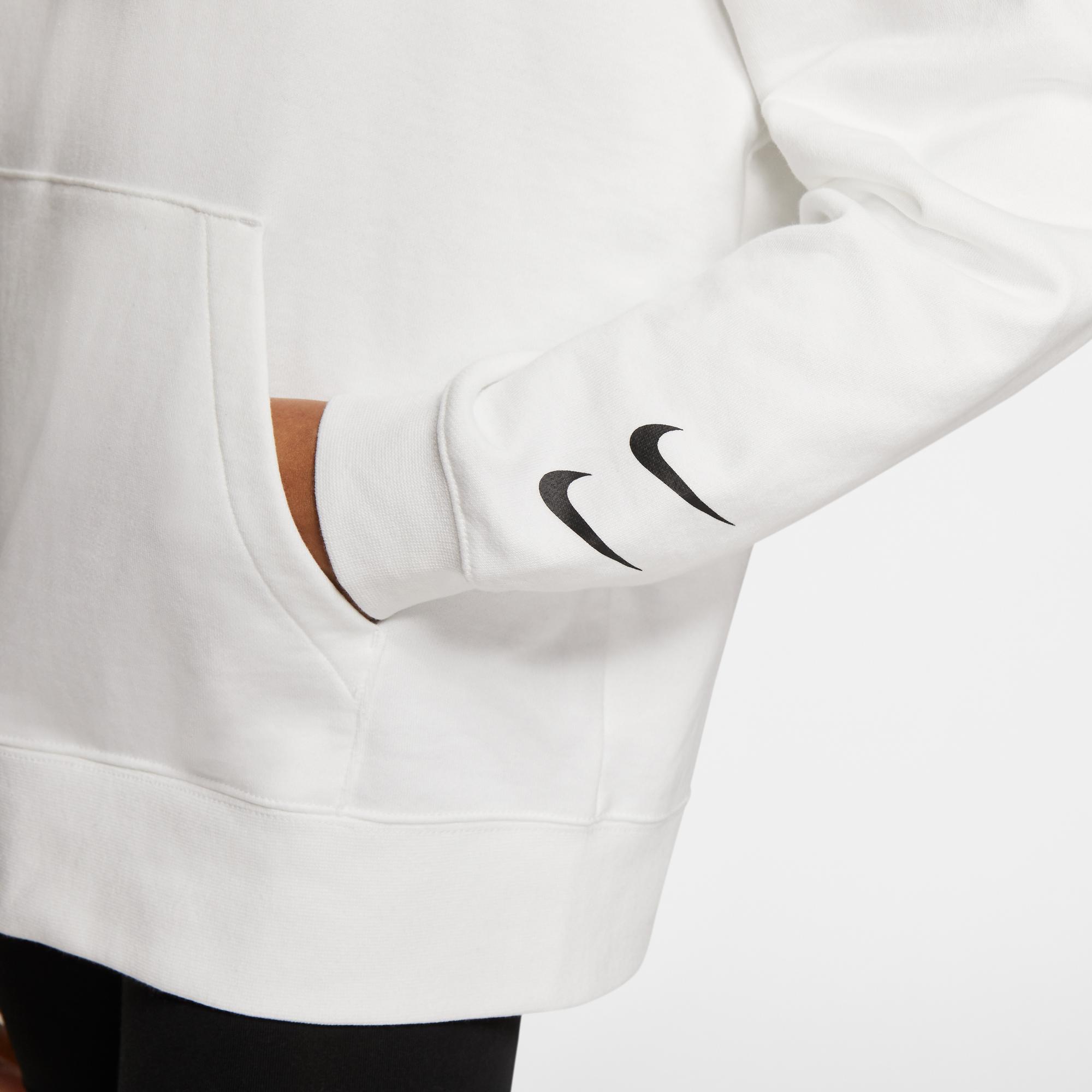 Nike Sportswear Swoosh Kadın Beyaz Kapüşonlu Sweatshirt