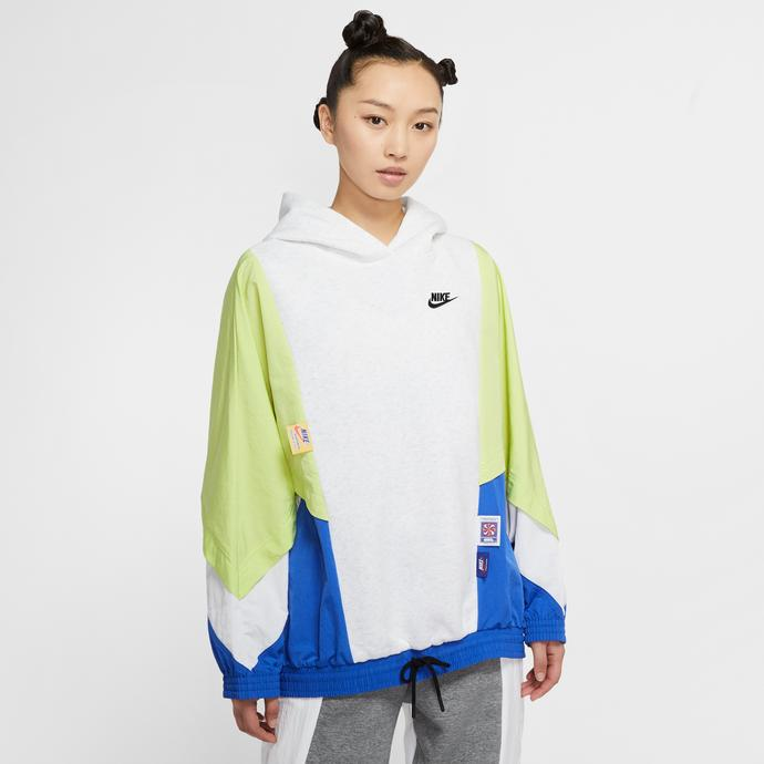 Nike Sportswear Kadın Beyaz-Yeşil Kapüşonlu Sweatshirt