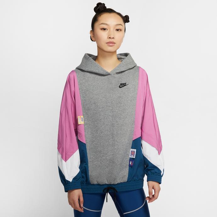 Nike Sportswear Kadın Gri-Pembe Kapüşonlu Sweatshirt