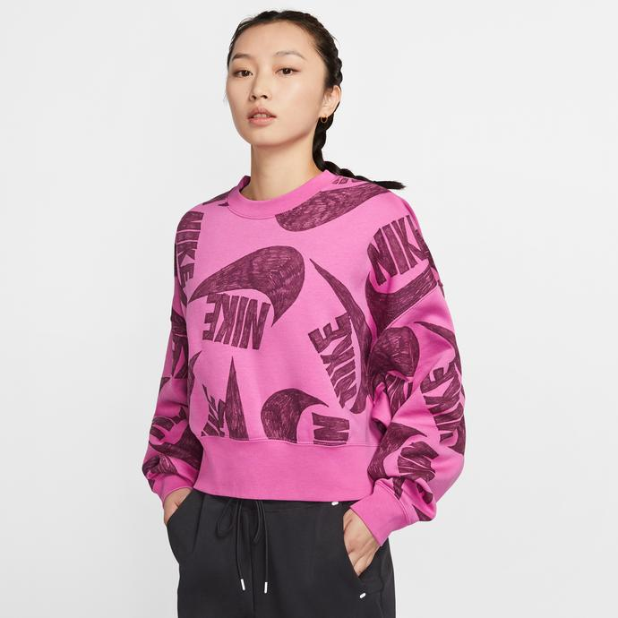 Nike Sportswear Fleece Crew Kadın Kırmızı Sweatshirt