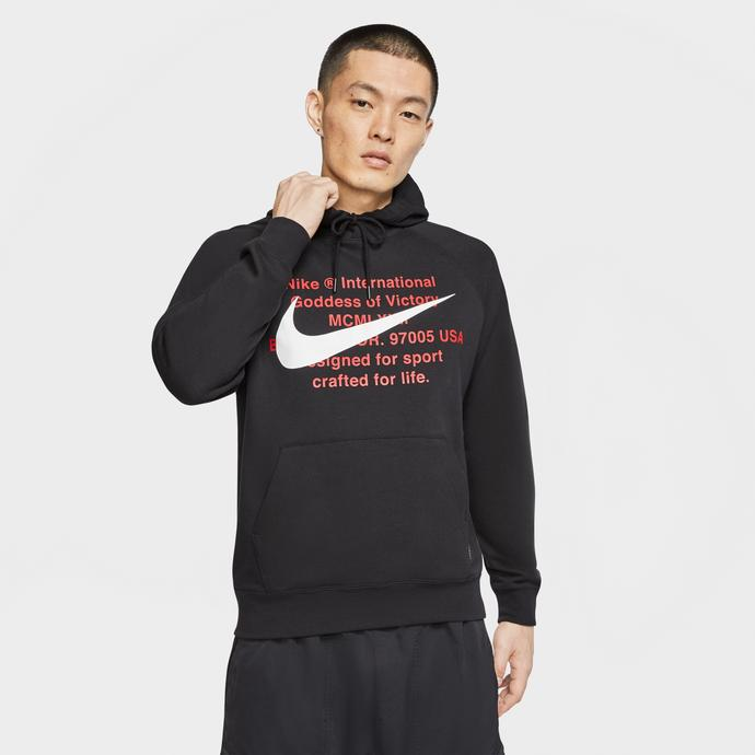 Nike Sportswear Swoosh Erkek Siyah Kapüşonlu Sweatshirt