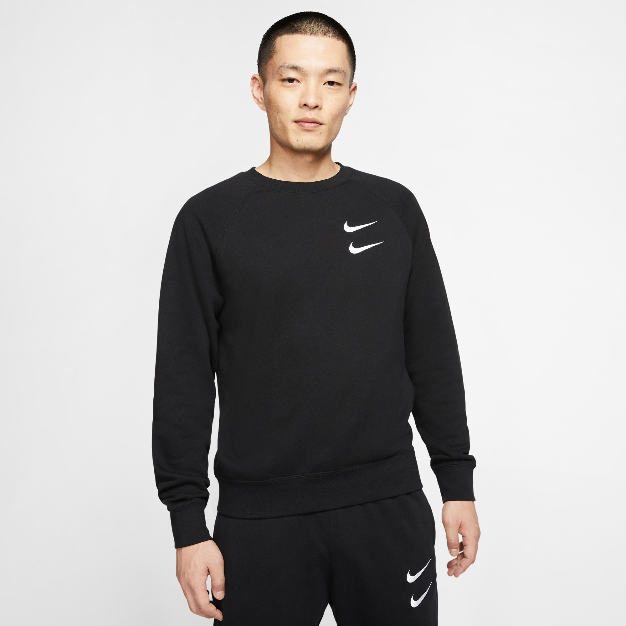 Nike Sportswear Swoosh Crew Erkek Siyah Sweatshirt