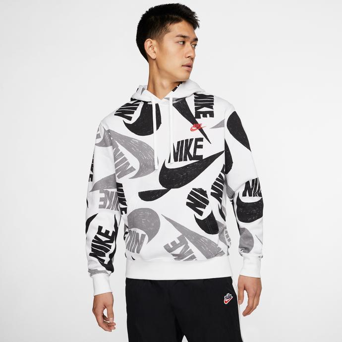 Nike Sportswear Club Erkek Beyaz-Siyah Kapüşonlu Sweatshirt
