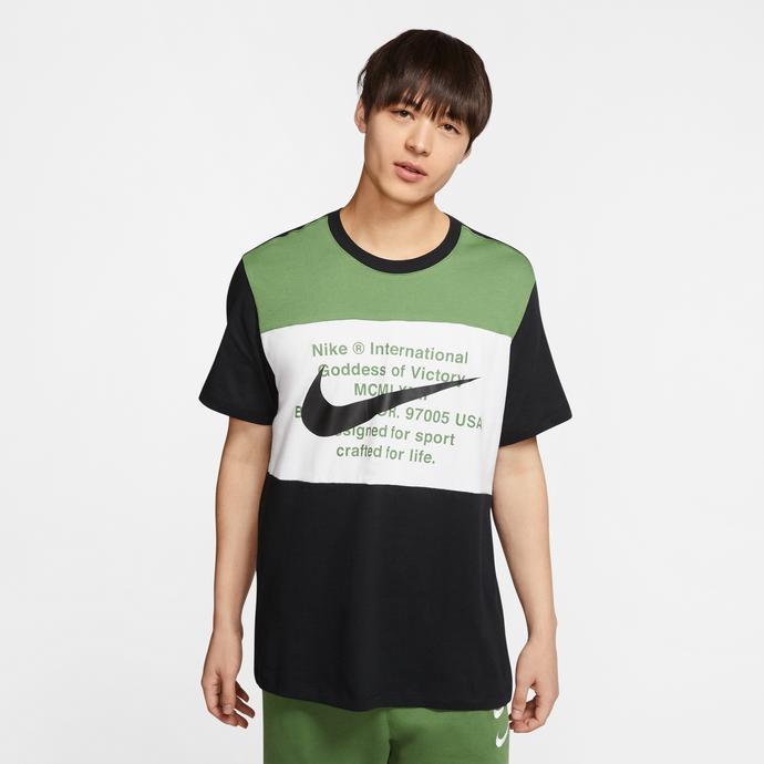 Nike Sportswear Swoosh Erkek Siyah-Yeşil T-Shirt
