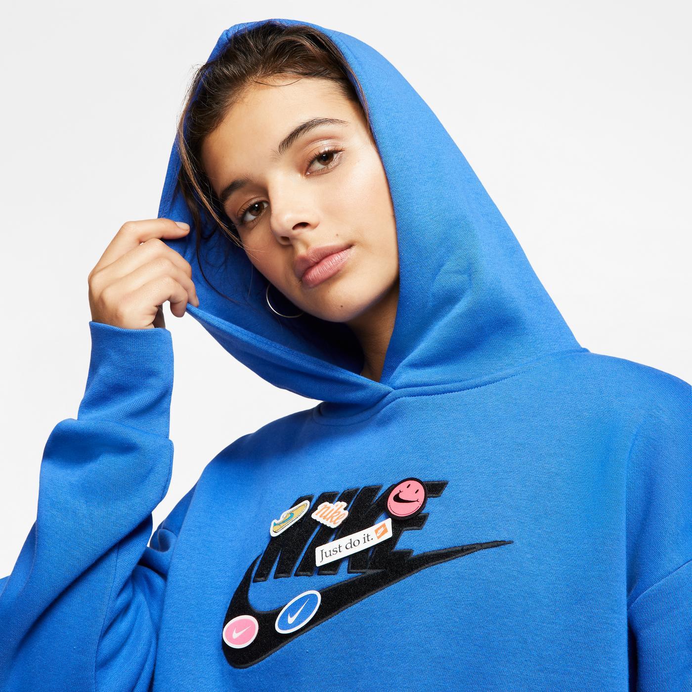 Nike Sportswear Fleece Kadın Mavi Kapüşonlu Sweatshirt