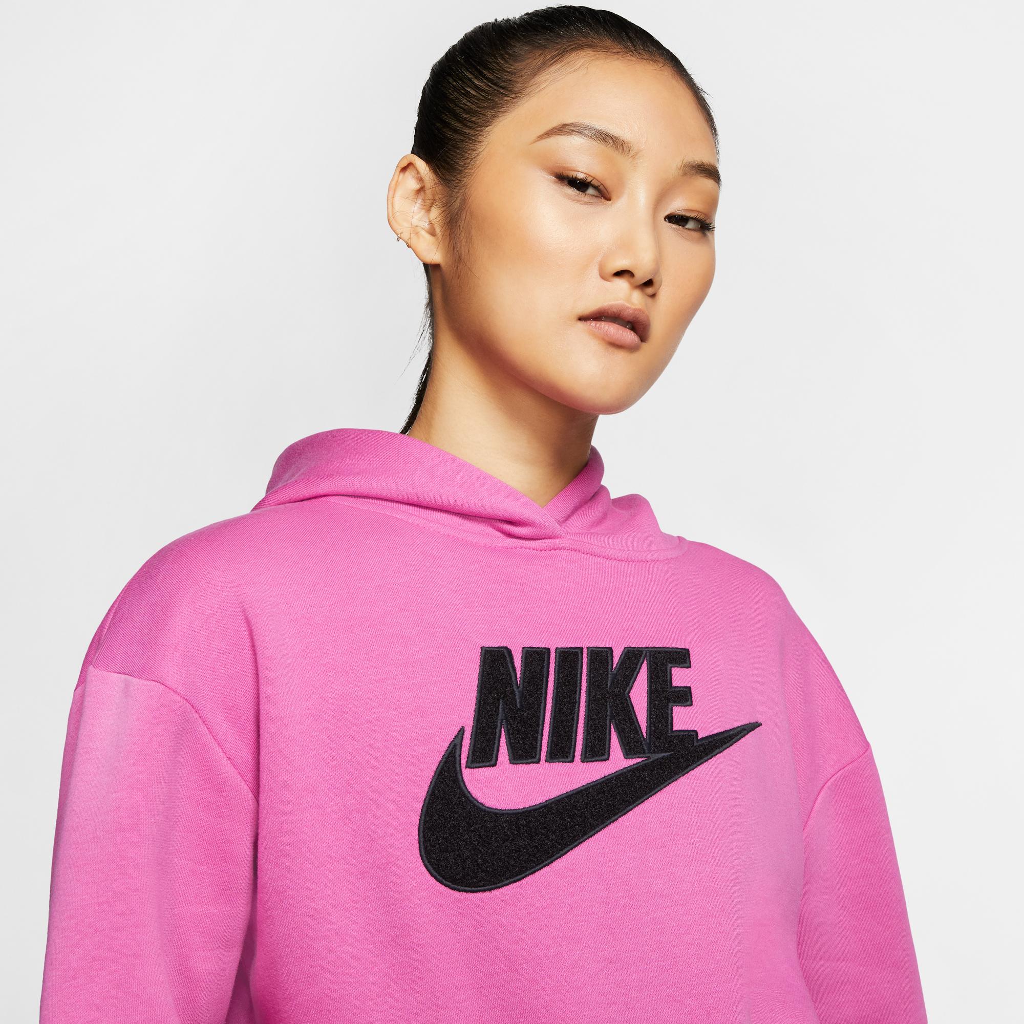 Nike Sportswear Fleece Kadın Pembe Kapüşonlu Sweatshirt