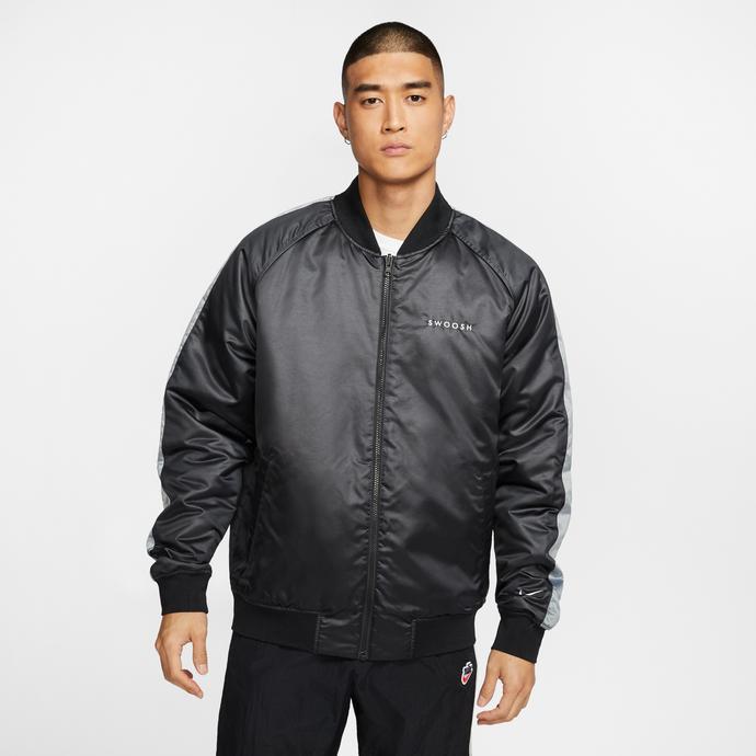 Nike Sportswear Swoosh Bomber Çift Taraflı Erkek Siyah-Gri Ceket